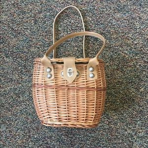 Vintage straw / wicker bucket bag